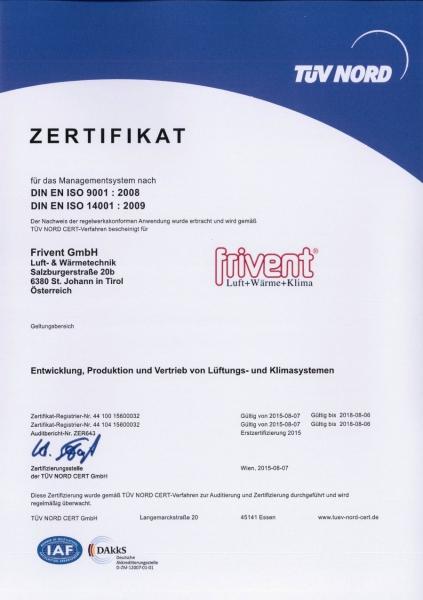Сертификат FRIVENT ISO9001, ISO14001